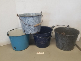 (4) Assorted Agate Buckets