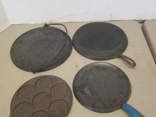 (4) Assorted Cast Iron Pans