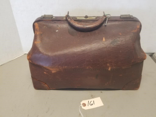 Vintage Leather Luggage Bag With key