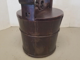 Primitive Wooden Bucket W/ Locking Wooden Lid