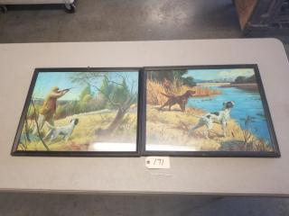 (2) Vintage Signed Hunting Dog Prints