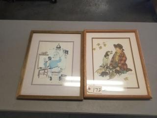 (2) Vintage Norman Rockwell Prints