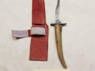 Camo antler handled fixed blade knife