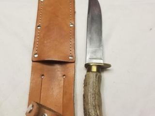 Unmarked bone handle fixed blade