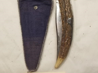 SRD folding antler handle folding knife