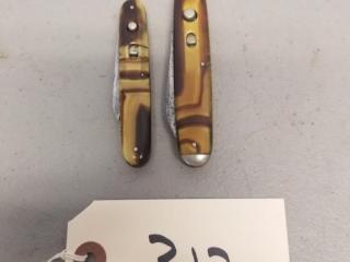 2 Vintage Schrade Dual Switchblade Knives