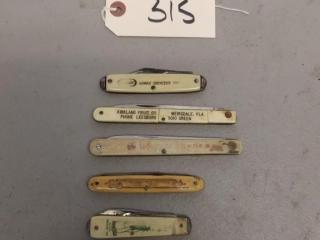 6 Vintage advertising folding knives