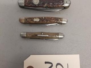 3 Vintage Remington folding knives