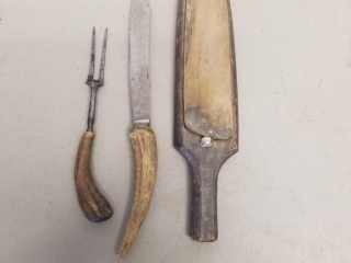 Vintage wet sharpening stone, 2 carving knives