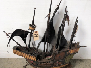 Wooden Sailboat with Leather Sails