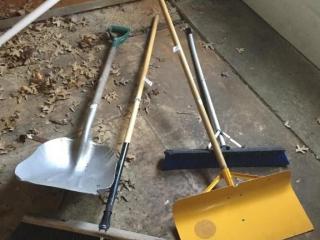 Barn broom, scraper, shovel, etc.