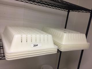 (9) plastic white yogurt drain trays