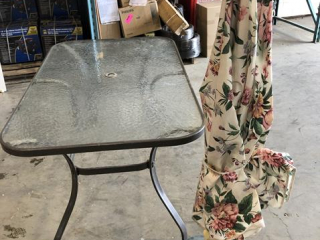 Glass Top Table, Umbrella With Stand UNRESERVED