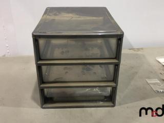 Three Drawer Cabinet, Unused Small Bags, Unused Trim, Beads, Hooks UNRESERVED