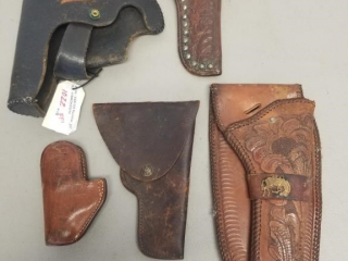 5 EARLY GENUINE LEATHER HOLSTERS