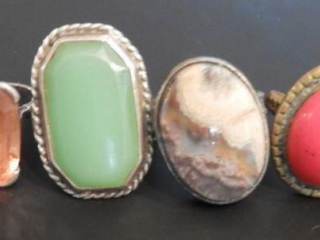 (4) Ladies sterling and coin sterling rings
