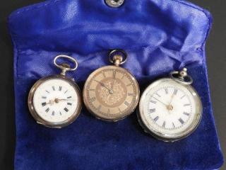 (3) small pocket watches: one marked 14C., one