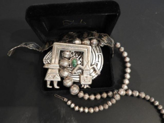 Ladies coin silver beaded necklace, silver