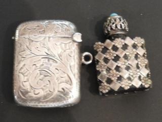 silver monogrammed matchstick box, silver