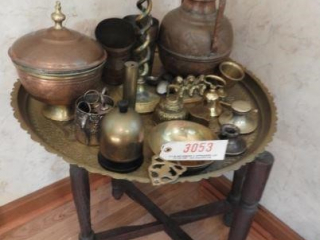 Brass serving tray table with large Qty of