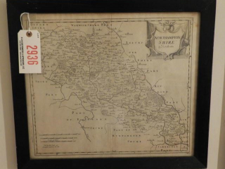Framed antique map of Northampton Shire by Robt.