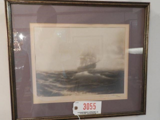 Framed print of sailing ship signed in pencil
