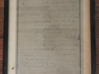 Framed repro copy of letter of Sailing by Command