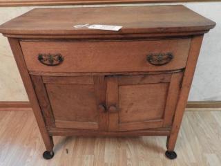 Antique Oak single drawer over two door washstand