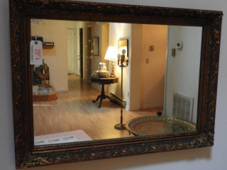 Contemporary gold framed wall mirror (28? x 40
