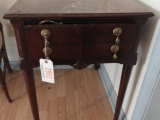 Cherry finish single drawer Chippendale style