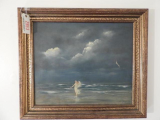 Framed oil on canvas of women at beach signed