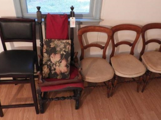 (3) antique side chairs, antique foot stool,