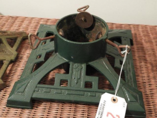 Vintage green painted cast iron Christmas tree