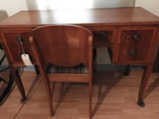 Mahogany and Burl five drawer knee hole desk/