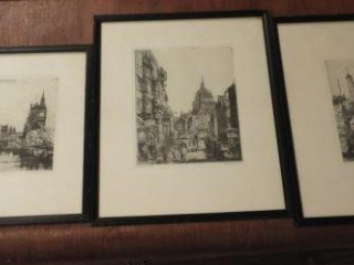 Set of (3) framed etchings: Tower of London,