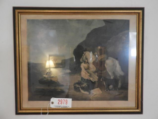 Unique 19th Century framed etching of fisherman