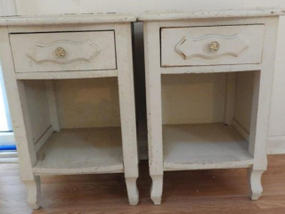 Pair of single drawer open face end tables in
