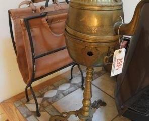 Fancy brass decorated hot water tea kettle on