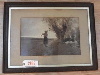 Framed antique print of farmer on lane