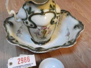 English hand painted floral semi-porcelain four