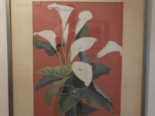 Framed original oil and acrylic of Lilly flower