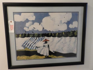 Contemporary framed print of women with laundry