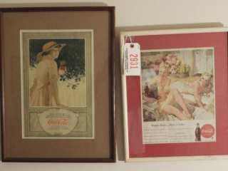 (2) framed Coca-Cola reproduction advertisements