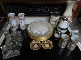 Miscellaneous glass and china lot: (7) Lenox