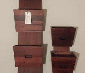 (2) Wooden wall mount stationary organizer