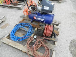 Campbell Hausfeld Air Compressor, Air Hoses & Reel
