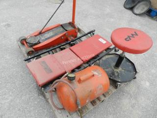 Floor Jack, Mechanic Creeper & Stool, Air Tank