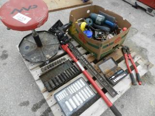 Mechanics Stool, Farm Jack, Socket Sets, Bolt