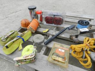 Load Binder Straps, Lights, Air hose, Tow Rope,