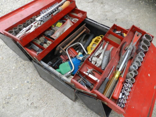 Tool Box w/ Sockets, Wrenches, Pliers, light, Ect